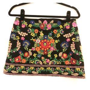 Vintage inspired embroidered mini skirt!